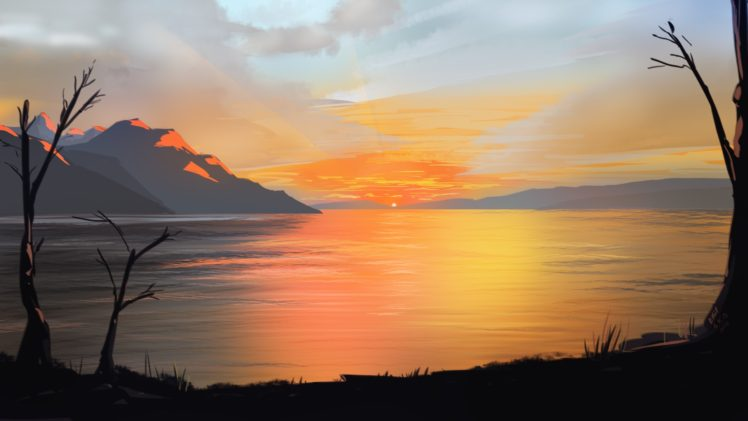 artwork, Illustration, Sunset, Mountains, Sky HD Wallpaper Desktop Background