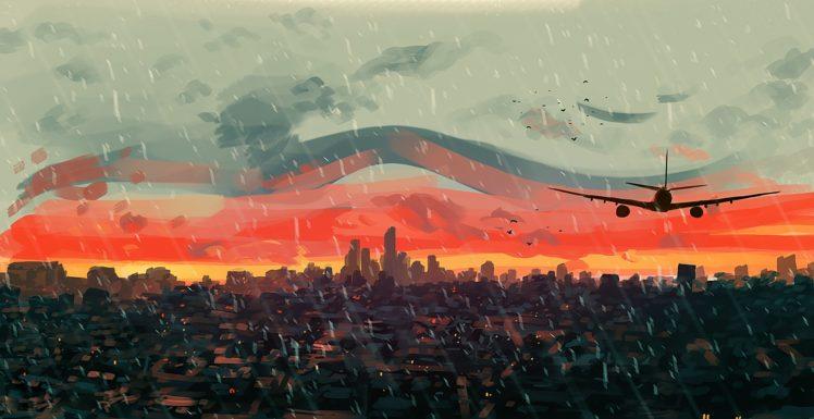 artwork, Illustration, Sunset, Sky HD Wallpaper Desktop Background