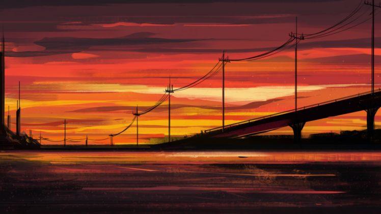 artwork, Illustration, Sunset HD Wallpaper Desktop Background