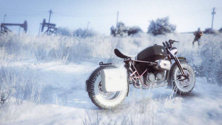 Rockstar Games, Grand Theft Auto V, Grand Theft Auto Online, Motorcycle, Snow HD Wallpaper Desktop Background