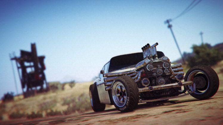 Grand Theft Auto V, Grand Theft Auto Online, Rockstar Games, Rat Rod, Vehicle, Desert HD Wallpaper Desktop Background