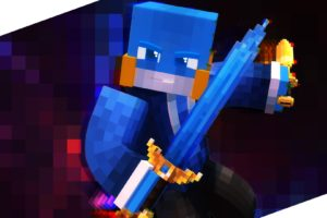 Minecraft, Blue, Sword