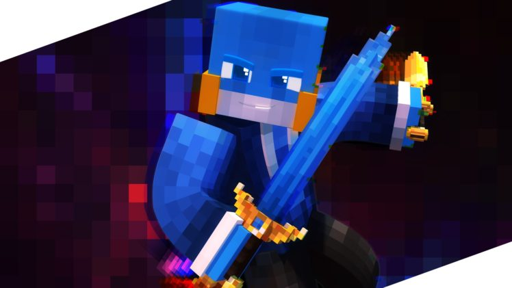 Minecraft, Blue, Sword HD Wallpaper Desktop Background