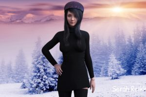 serah reikka, Asian, Women, Blue eyes, Long nails, Render, CGI, Winter, Snow, Digital art, 3D, 3d design, Black dress, Black hair, Black hat