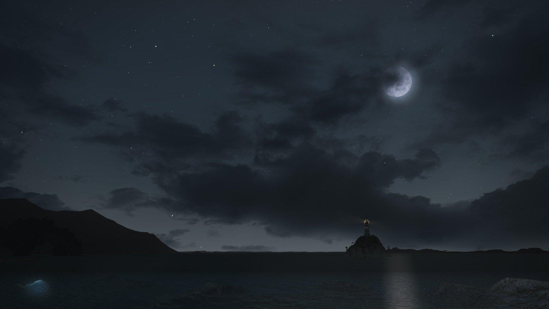 digital art, Minimalism, Landscape, Lighthouse, Night, Moon, Clouds, Sea, Cliff, Rock, Stars, Reflection Wallpaper
