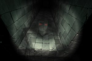 creepy, Red eyes, Digital art, Minimalism, Ghost, Dark, Hallway, Tiles, Horror, Crystal Rift, Video games