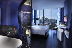 interior, Room, Indoors, Modern, Hotel, Interior design, Bathroom, Window, Cityscape, Bed, Skyscraper, Lights, Bangkok, Thailand