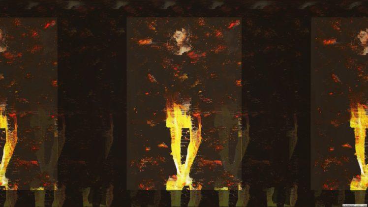 glitch art, Fire, Abstract HD Wallpaper Desktop Background