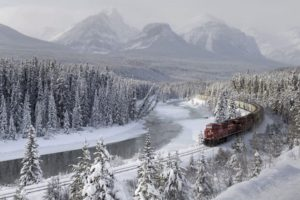 train, Snow, Forest, Mountains