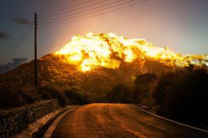 mountains, Sun, Reflection, Explosion