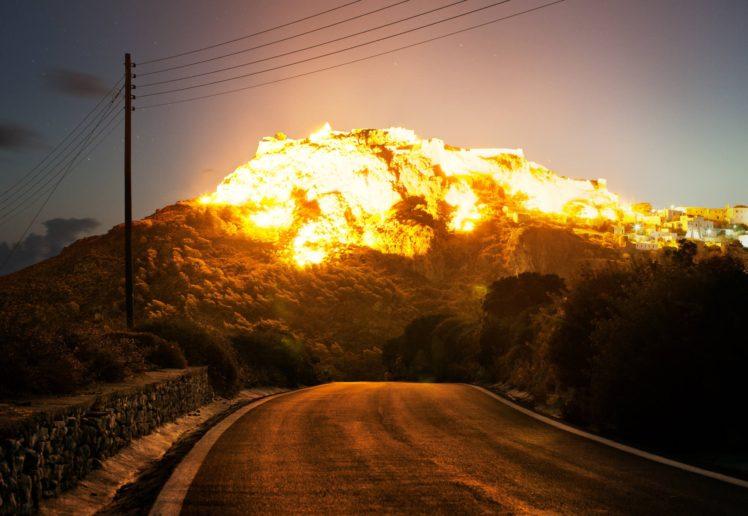 mountains, Sun, Reflection, Explosion HD Wallpaper Desktop Background