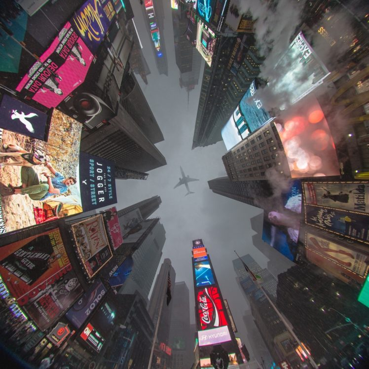 Times Square, Airplane, New York City HD Wallpaper Desktop Background