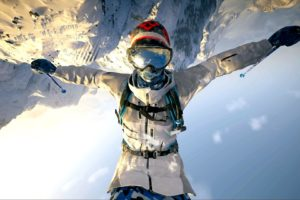 skiers, Steep, PlayStation 4, Backflip, Snow, Upside down, Goggles, Video games, Mountains