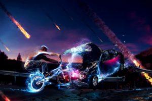 BMX, 3D, Collision, Meteors