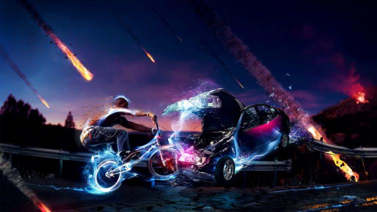 BMX, 3D, Collision, Meteors HD Wallpaper Desktop Background