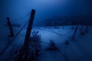 dark, Night, Fence, Cold, Snow, Winter, Landscape
