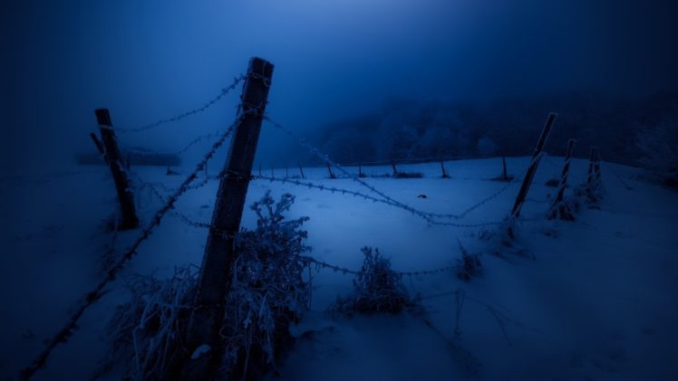 dark, Night, Fence, Cold, Snow, Winter, Landscape HD Wallpaper Desktop Background