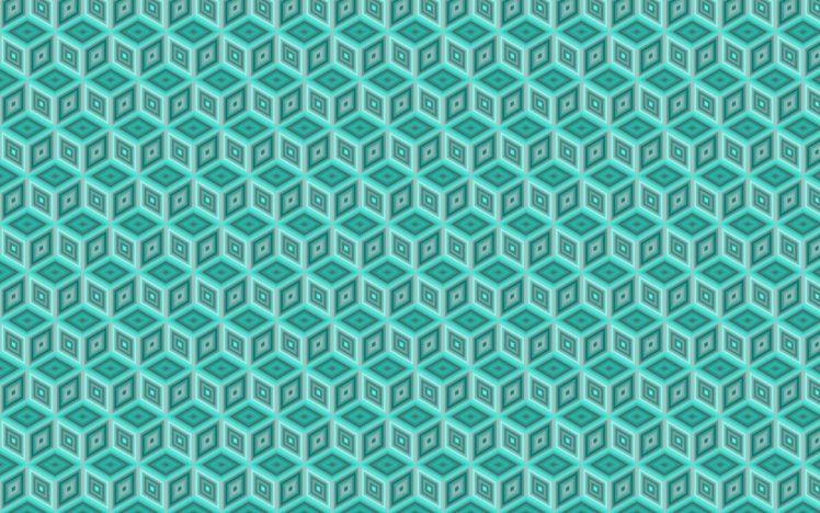 digital art, Pattern, Blue background, Minimalism, 3D, Cube, Geometry, Diamonds, Shapes HD Wallpaper Desktop Background