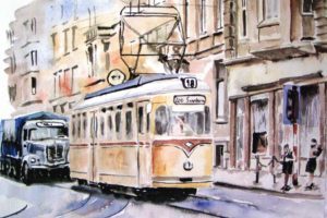 Thomas Müller, Architecture, Building, City, Cityscape, Urban, Artwork, Watercolor, Tram, Railway, Street, Trucks