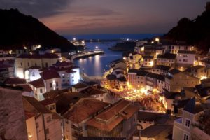 architecture, Building, City, Cityscape, Urban, Night, Lights, Clouds, Spain, House, Sea, Mountains, Bay, Cudillero