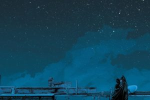 night sky, Batman, Catwoman, Starry night, Kissing