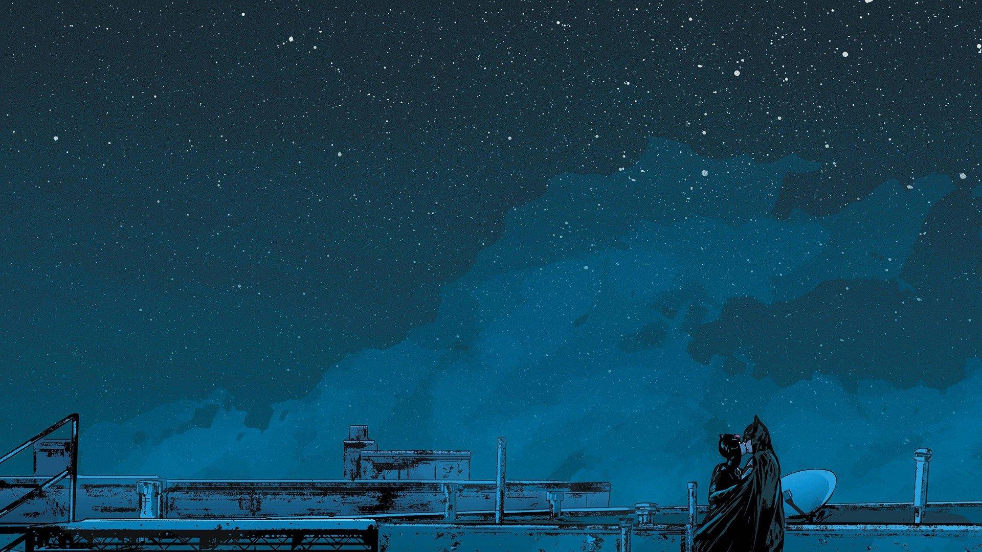 night sky batman catwoman starry night kissing hd wallpapers