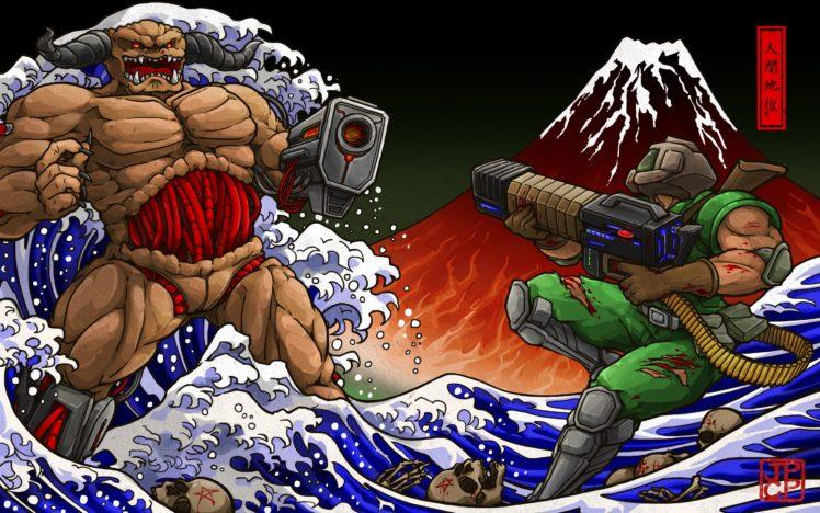 Doom (game), Shotgun, The Great Wave off Kanagawa HD Wallpaper Desktop Background