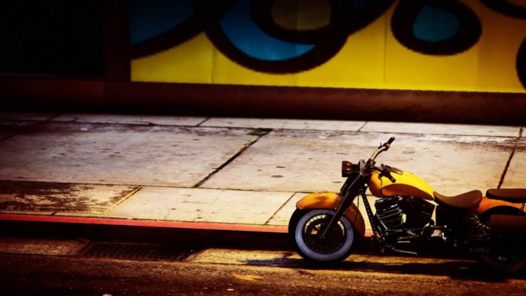 Grand Theft Auto V, Grand Theft Auto Online, Rockstar Games, Motorcycle, Chopper, Graffiti, Street HD Wallpaper Desktop Background