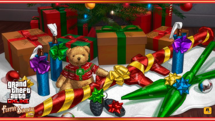 Grand Theft Auto V, Grand Theft Auto Online, Rockstar Games, Holiday, Christmas ornaments, Teddy bears, Weapon HD Wallpaper Desktop Background