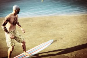 surfers, Grand Theft Auto V, Grand Theft Auto Online, Rockstar Games, Surfing, Beach, Tattoo