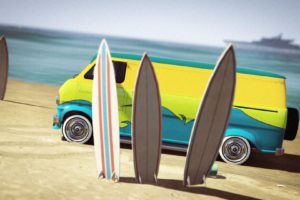 Grand Theft Auto V, Grand Theft Auto Online, Vans, Surfboards, Beach, Yacht, Rockstar Games, Vehicle