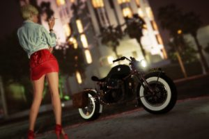 Grand Theft Auto V, Grand Theft Auto Online, Rockstar Games, Street, Night, Motorcycle