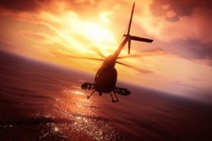 Grand Theft Auto V, Grand Theft Auto Online, Rockstar Games, Helicopters, Pacific Ocean, Sunset