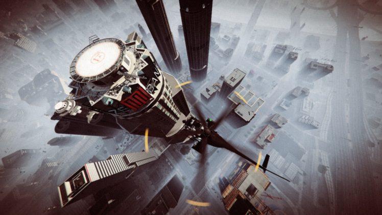 Grand Theft Auto V, Grand Theft Auto Online, Rockstar Games, Cityscape, Skyscraper, Helicopters, Morning HD Wallpaper Desktop Background