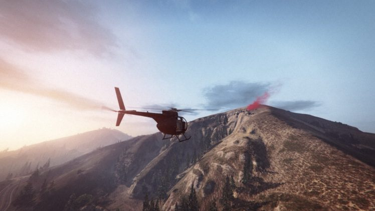 Grand Theft Auto V, Grand Theft Auto Online, Rockstar Games, Mountains, Morning, Beacon, Helicopters HD Wallpaper Desktop Background