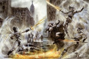 Luis Royo, Women, Fantasy art, Battle, Malefic time