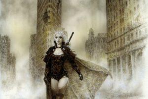 Luis Royo, Women, Fantasy art, Malefic time, Flat Iron Building