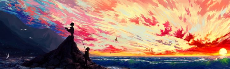 artwork, Illustration, Sunset, Sky, Fantasy art HD Wallpaper Desktop Background