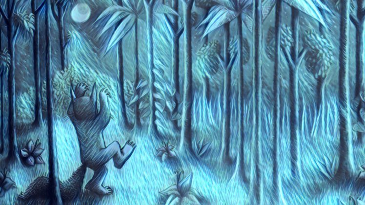 Maurice Sendak, Where the Wild Things Are, Night, Forest, Moon HD Wallpaper Desktop Background