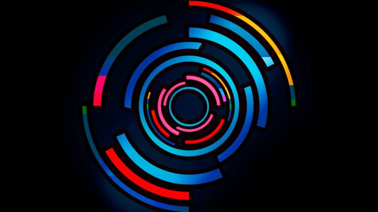 Digital Art Colorful Circle Blue Red Hd Wallpapers