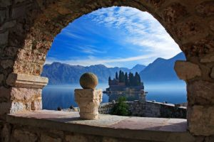 architecture, Old building, Ancient, Montenegro, Island, Landscape, Mountains, Clouds, Nature, Trees, Arch, Stones, Lake, Mist, Mediterranean
