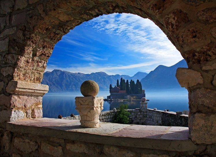 architecture, Old building, Ancient, Montenegro, Island, Landscape, Mountains, Clouds, Nature, Trees, Arch, Stones, Lake, Mist, Mediterranean HD Wallpaper Desktop Background