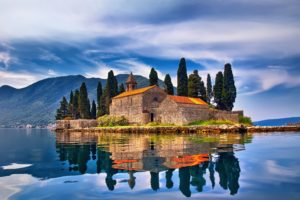 architecture, Old building, Ancient, Montenegro, Island, Landscape, Mountains, Clouds, Nature, Trees, Church, Rock, Reflection, Hills, Water, Lake, House, Mediterranean