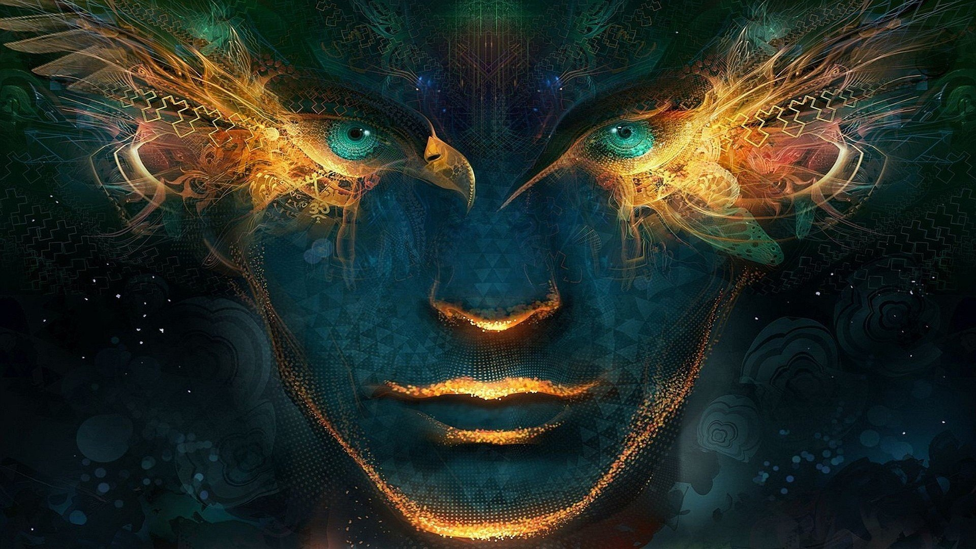 face green eyes digital art artwork abstract geometry wings glowing android jones hd wallpapers desktop and mobile images photos