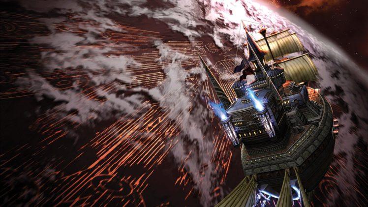 pirates, Digital art, Artwork, Ship, Planet, Space, Universe, Stars, Flying, Clouds, Video games, Rogue Galaxy, Sailing ship, Motion blur HD Wallpaper Desktop Background