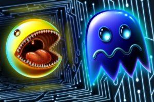 tongues, Digital art, Artwork, Pac Man, Video games, Retro games, Ghost, Fangs, 3D, Fan art, Glowing
