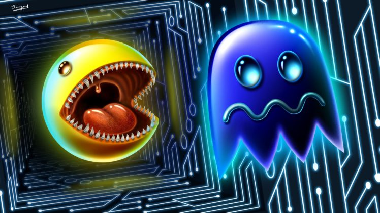 473297 tongues digital art artwork Pac Man video games retro games ghost fangs 3D fan art glowing