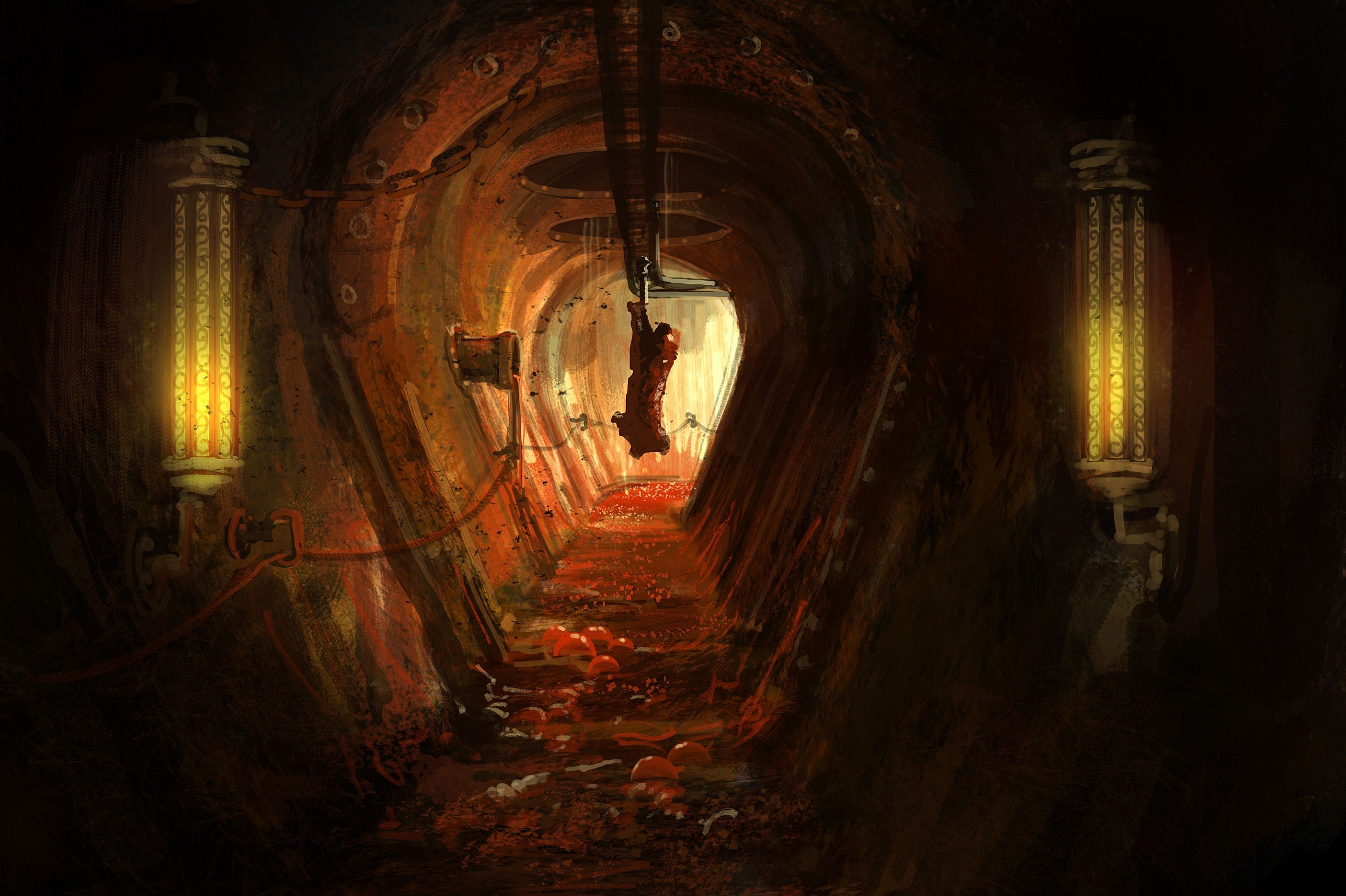 creepy, Digital art, Artwork, Horror, Meat, Pigs, Lights, Blood, Amnesia: A Machine for Pigs, Video games, Chains Wallpaper