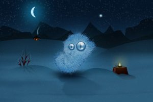 digital art, Artwork, Creature, Night, Moon, Stars, Candles, House, Winter, Snow, Mountains, Hills, Tree trunk, Glowing