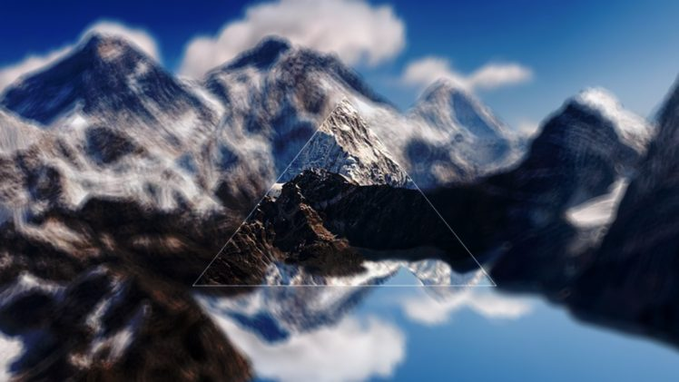landscape, Digital art, Triangle, Mount Everest, Himalayas